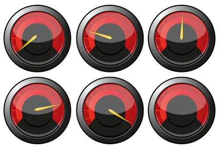 kilometer: Set of red speedometers for car or power or thermometers,   illustration Illustration