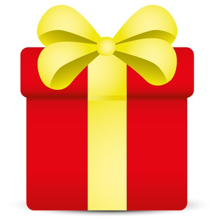 red gift box: Red gift box with golden ribbon,  illustration