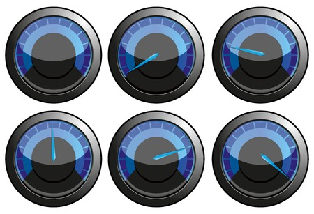 kilometre: Set of blue speedometers for car or power or thermometers,   illustration