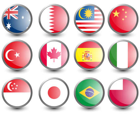 Bahrain: Web buttons with flags of countries isolated on white. Name of the country as the name of the layer