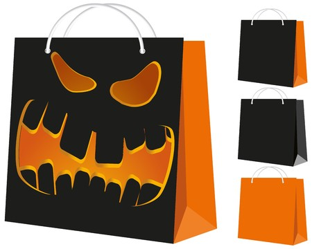 Set of shopping bags: black and orange, and with the Halloween pattern  Vector