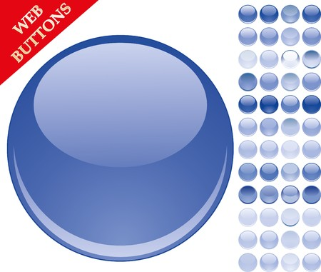 Set of 49 blue glass buttons, glossy icons, web spheres  Vector
