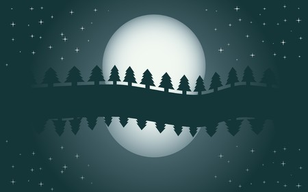 Romantic night landscape, reflection of moon in water, starry night  Vector