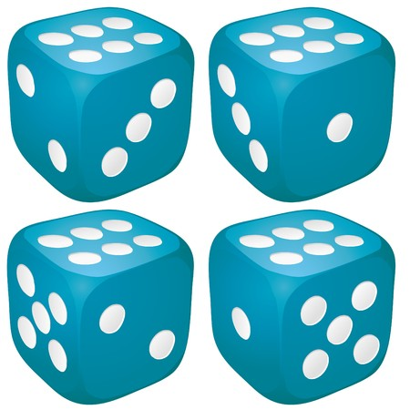 Set of blue casino craps, dices with six points, dots number on top  Stock Vector - 7864394