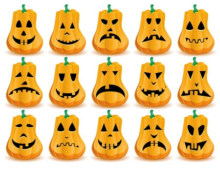 Big set of 15 Halloween pumpkins with  mouths, eyes and noses as Jack O`Lantern face  Vector