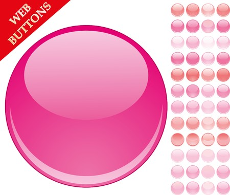 Set of 49 pink glass buttons, glossy icons, web spheres  Vectores
