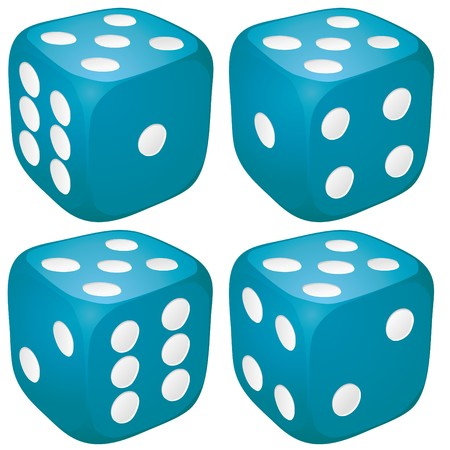 Set of blue casino craps, dices with five points, dots number on top Stock Vector - 7864401