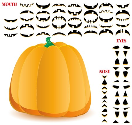 Halloween pumpkin with big set of mouths, eyes and noses for Jack O`Lantern face  Vector