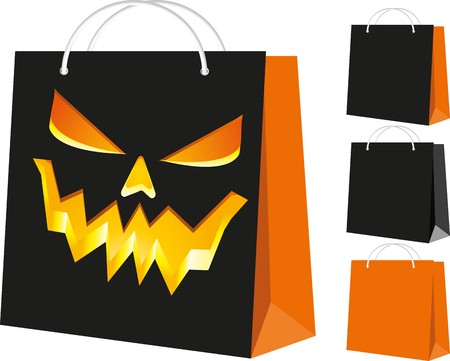 Set of shopping bags: black and orange, and with the Halloween pattern, part 3,  illustration Illustration