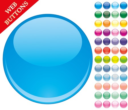 Set of 49 colored glass buttons, glossy icons, web spheres,   illustration