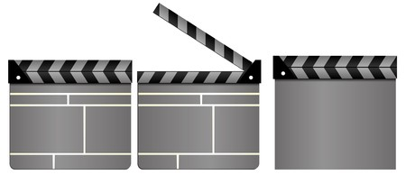 movie clapper: Set del cinema grigio clapboards, film Batacchio tavole, chiusi e aperti, isolate su sfondo bianco, illustrazione