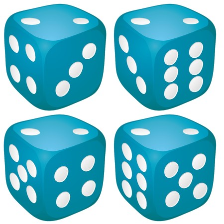 blue spotted: Set of blue casino craps, dices with two points, dots number on top,  illustration