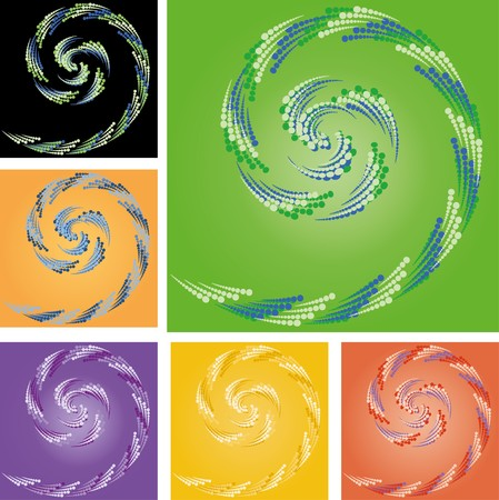 Set of abstract colorful backgrounds with curl made from  rounds, part 2, vector illustration Vector