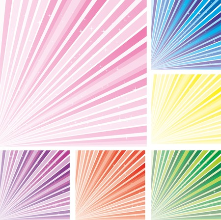 Set of abstract colorful backgrounds with strips and stars, part 8, vector illustration Vector