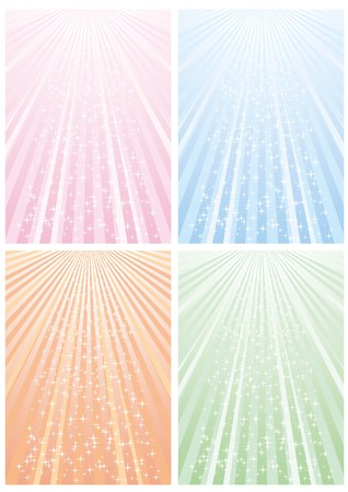 Set of abstract colorful backgrounds with strips and stars, part 11, vector illustration Vector