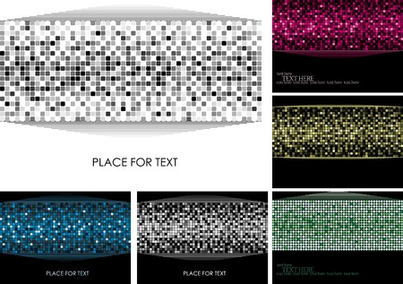 disco lights: Set of colorful background with retro elements of disco ball, pink, yellow, green, blue, black and white, with place for text, part 25, vector illustration