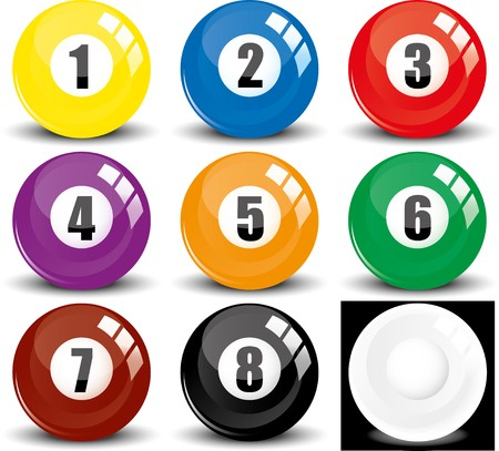 8 ball: Billiard snookers - pool balls- colored balls - isolated on white, with reflections, vector illustration