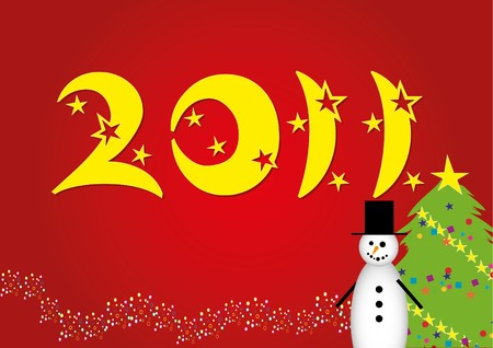 Funny cartoon christmas card with snowman and snow tree and 2011 ttext and place wor text on red background, vector illustration Vector