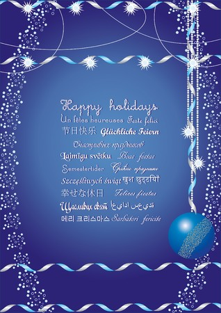Happy holidays greetings on many languages, send it to your friends all over the world and they understand your message, vector illustration Vectores