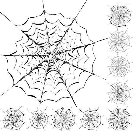 spiderweb: Set of 11 different spiderwebs isolated on white, easy to print, vector illustration