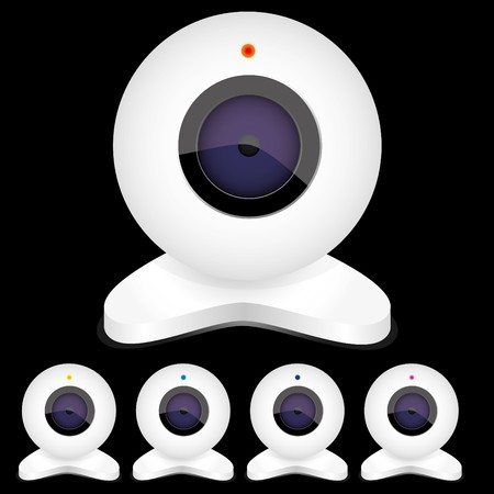 Set of white webcams with bright lights, vector illustration