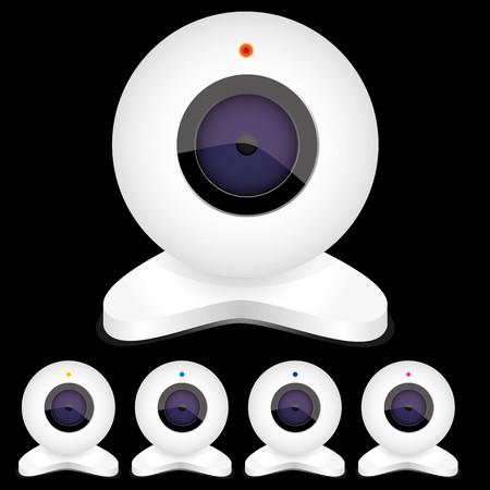 webcam: Set of white webcams with bright lights, vector illustration