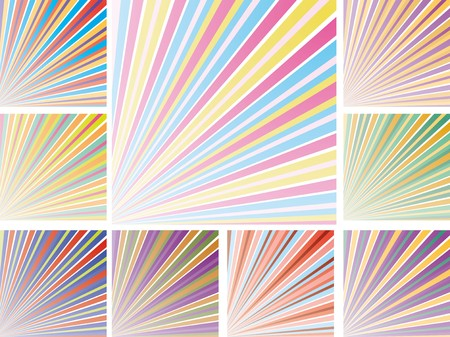 Set of abstract colorful backgrounds with strips, part 9, vector illustration Vector