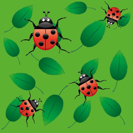 Cute ladybug on green pulpy leaves, seamless background, ladybirds on leaf, vector illustration Vector