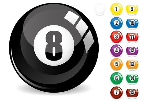 pool bola: Snooker de billar - pool bola ocho-8 ball - negro y bolas de billar de quince 15 de othe, aislados en blanco, con reflexiones, ilustraci�n de vectores