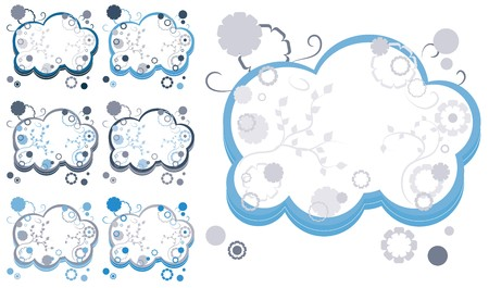 Set of simple abstract blue backgrounds with blossom elements, part 39, vector illustration Vector