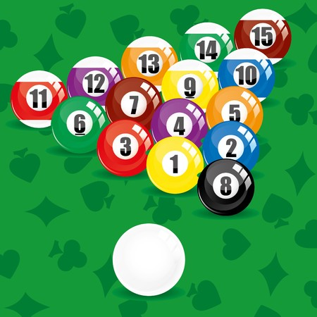 eightball: Billiard soccer and pool balls on green background, vector illustration Illustration