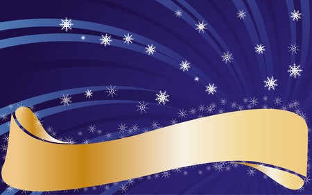 headliner: Blue christmas background with snowflakes and golden ribbon with place for text, vector illustration
