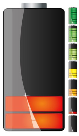 lading: Set van zwarte batterij stadia van macht met lage en volledige, afbeelding weergegeven: