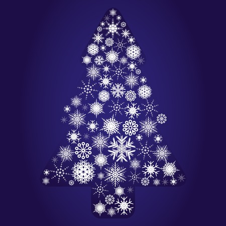Blue fir tree made from snowflakes, illustration Vector