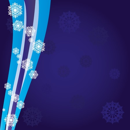 headliner: Blue christmas background with wave and snowflakes, illustration