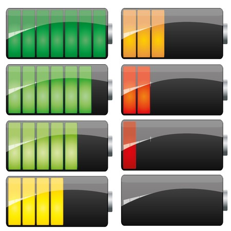 Set of Battery charge showing stages of power running low and full,
