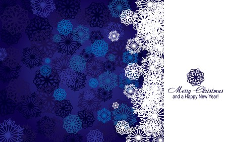 Blue christmas background with snowflakes and wish og Merry Christmas and a Happy New Year, illustration Vector
