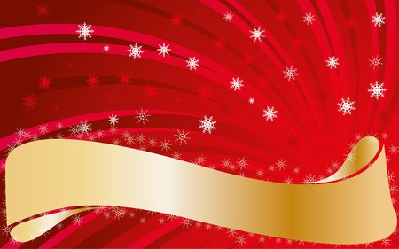headliner: Red christmas background with snowflakes and golden ribbon for greetings, illustration Illustration