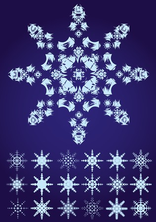 Set of snowflakes on blue background, illustration Vector
