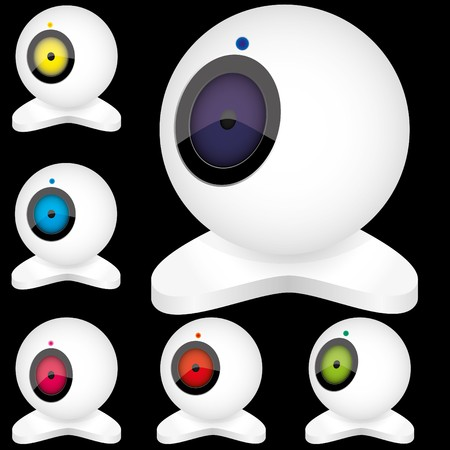 Set of white webcams with bright lights in different positions, isolated on black illustration  Vectores