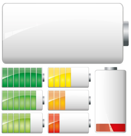 charge: Set of White Batteries charge showing stages of power running low and full Illustration