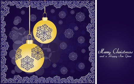 headliner: Blue christmas background with gold baubles and snowflakes, illustration Illustration
