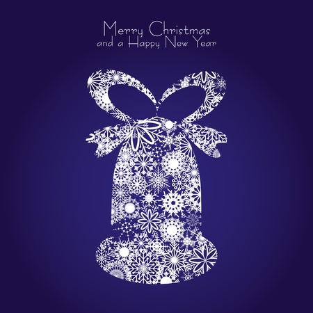 seasons greetings: Christmas bell made from snowflakes on blue background, illustration