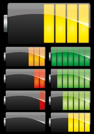 Set of Battery charge showing stages of power running low and full on black background Vector