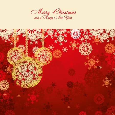 Red Christmas card with snowflakes and gold baubles, illustration Illustration
