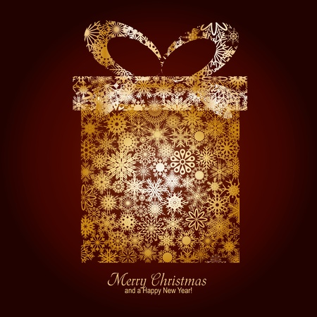 season       greetings: Christmas card with gift box made from gold snowflakes on brown background and a wish of Merry Christmas and a Happy New Year, illustration