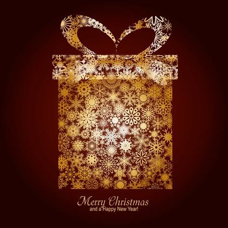 saludo: Tarjeta de Navidad con caja de regalo de copos de nieve oro sobre fondo marr�n y un deseo de feliz Navidad y un feliz a�o nuevo, ilustraci�n