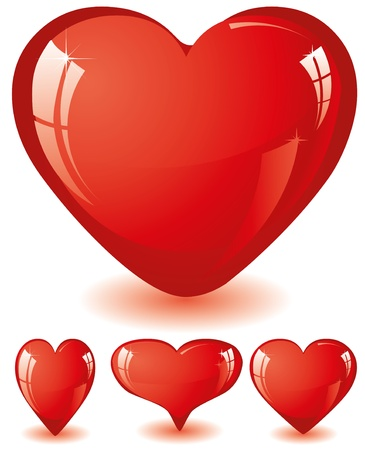 Set of red glitter shiny hearts, illustration Vectores