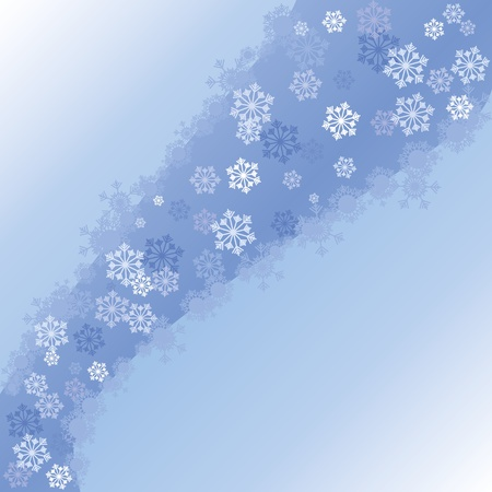 headliner: Blue christmas background with wave and snowflakes, part 2,   illustration