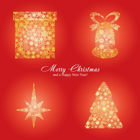 Christmas card with fir tree, star, gift box and bell made from gold snowflakes, Christmas decorations on red background and a wish of Merry Christmas and a Happy New Year,  illustration Vector